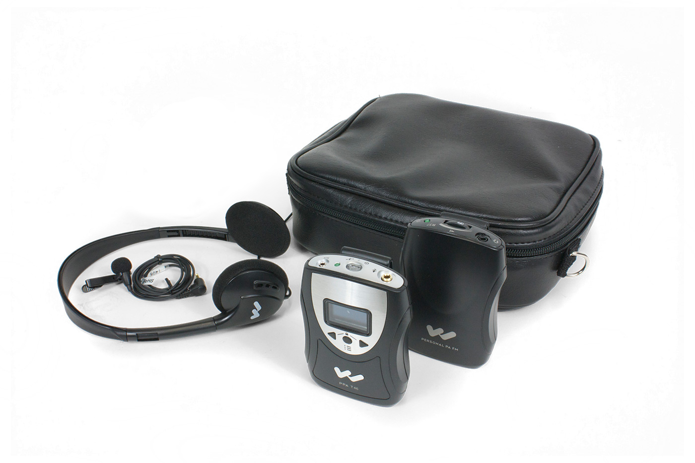 An Assistive Listening Device FM system with headphones, a receiver, and a transmitter.
