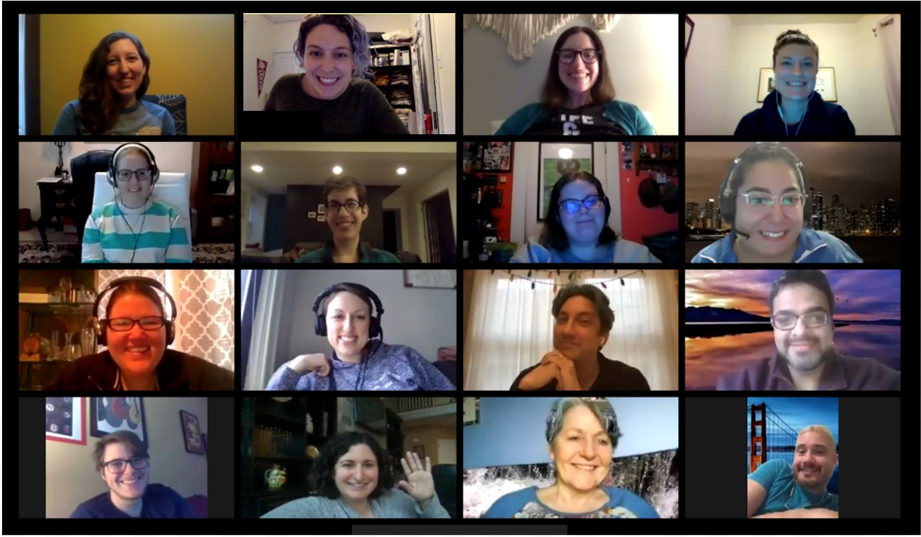Screen grab of a Zoom meeting. Video boxes of 12 smiling attendees.
